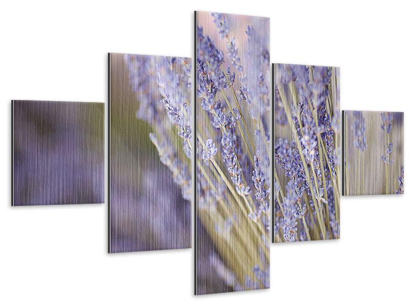 Metallic-Bild 5-teilig Lavendel XXL