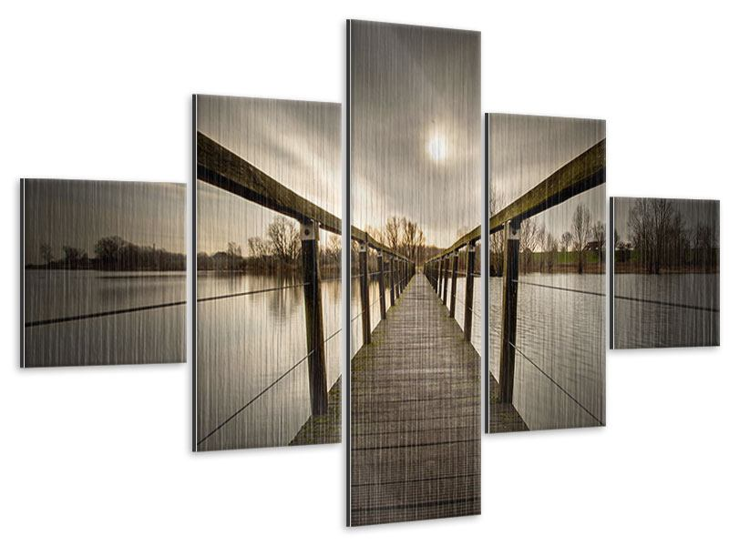 Metallic-Bild 5-teilig Die Holzbrücke