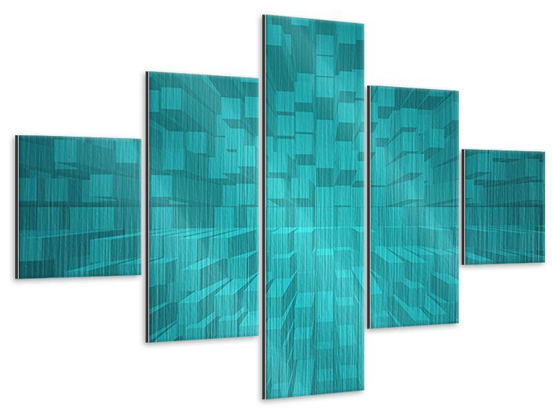 Metallic-Bild 5-teilig 3D-Kubusse