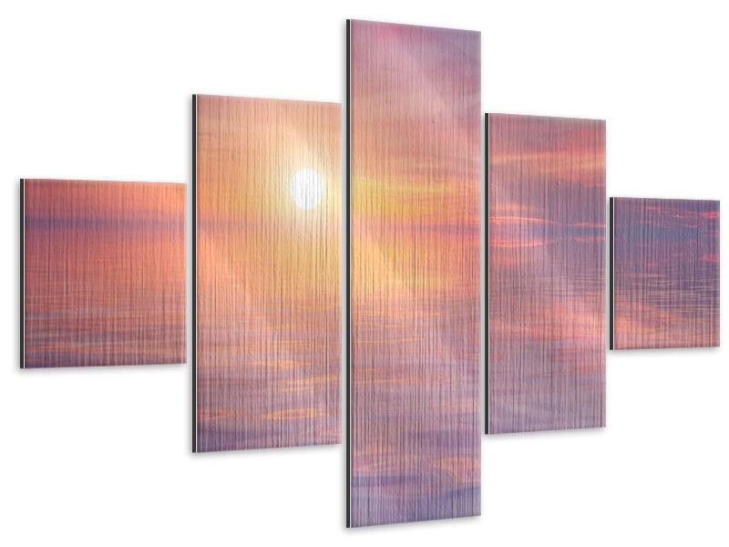 Metallic-Bild 5-teilig Sonnenuntergang auf See