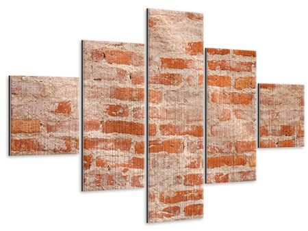 Metallic-Bild 5-teilig Mauerwerk