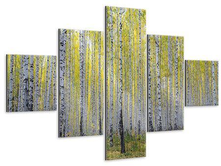 Metallic-Bild 5-teilig Herbstlicher Birkenwald