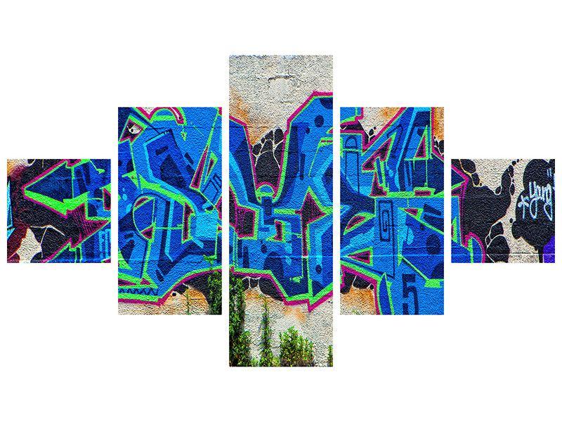 Metallic-Bild 5-teilig Graffiti NYC