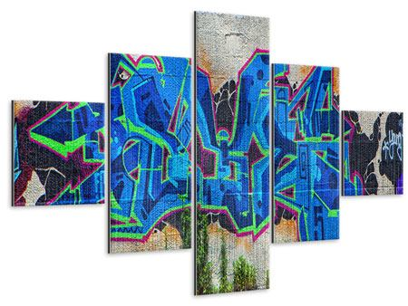 Metallic-Bild 5-teilig Graffiti NYC