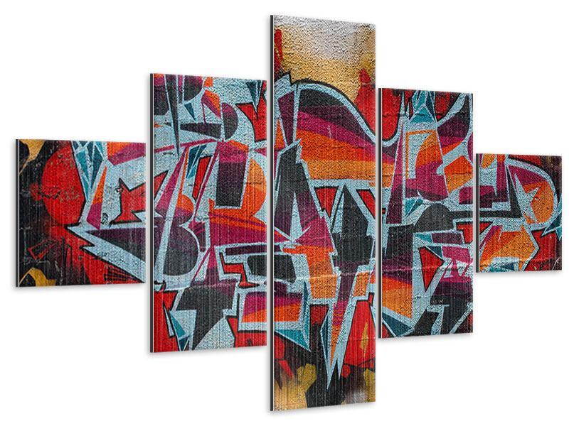 Metallic-Bild 5-teilig New York Graffiti