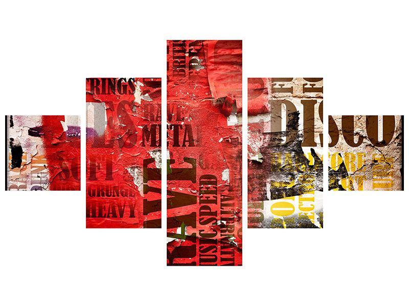 Metallic-Bild 5-teilig Musiktext im Grungestil