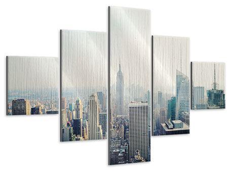 Metallic-Bild 5-teilig NYC