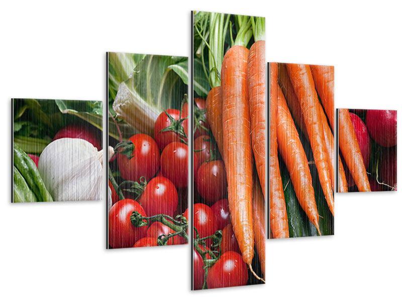 Metallic-Bild 5-teilig Gemüse