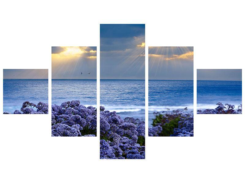 Metallic-Bild 5-teilig Der Lavendel und das Meer