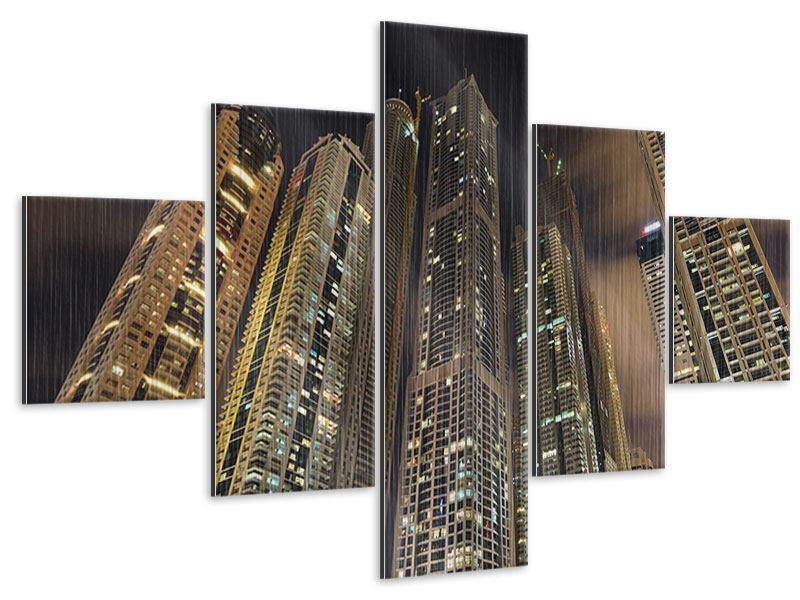 Metallic-Bild 5-teilig Wolkenkratzer Dubai Marina
