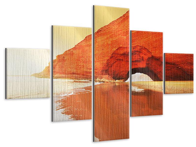 Metallic-Bild 5-teilig Wasserspiegelung