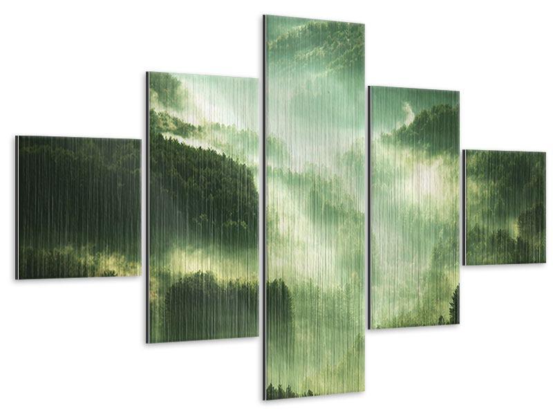 Metallic-Bild 5-teilig Über den Wäldern