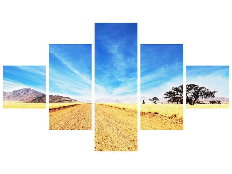 Metallic-Bild 5-teilig Eine Landschaft in Afrika