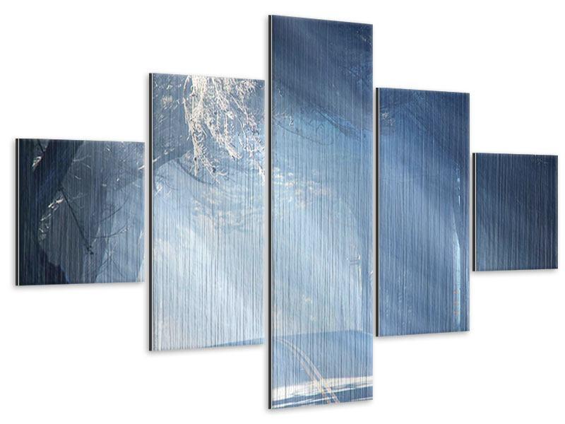 Metallic-Bild 5-teilig Lichtdurchflutete Baumallee