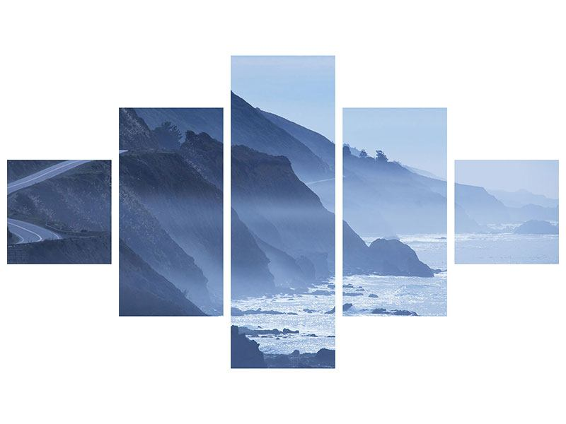 Metallic-Bild 5-teilig Bewegung im Wasser