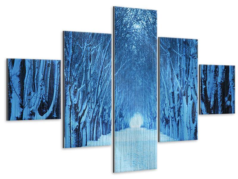 Metallic-Bild 5-teilig Winterbäume