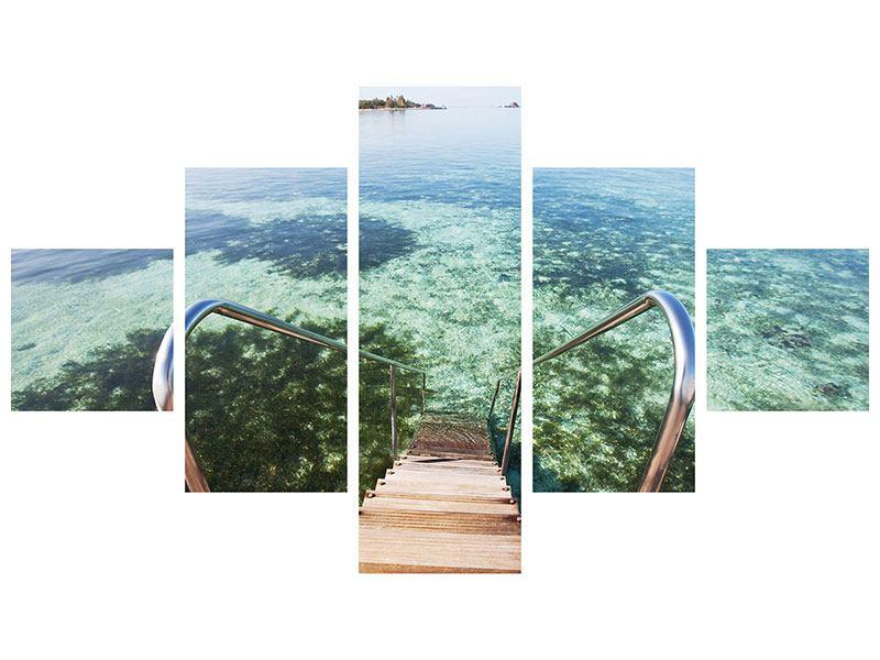 Metallic-Bild 5-teilig Bad im Meer