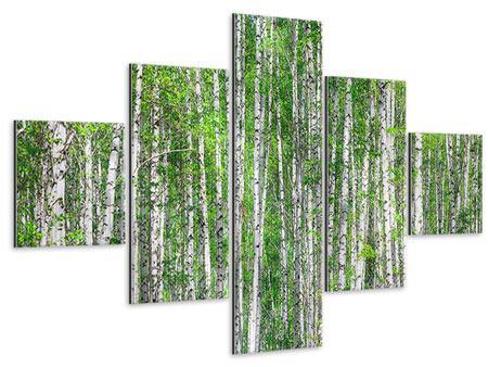 Metallic-Bild 5-teilig Der Birkenwald