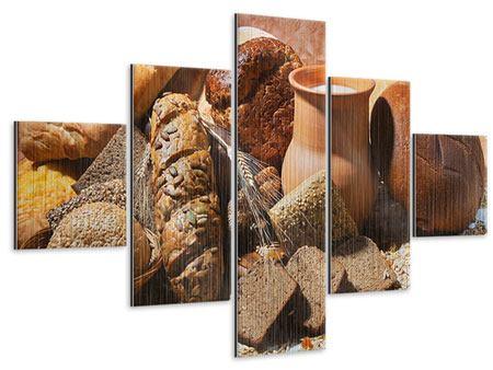 Metallic-Bild 5-teilig Frühstücksbrote