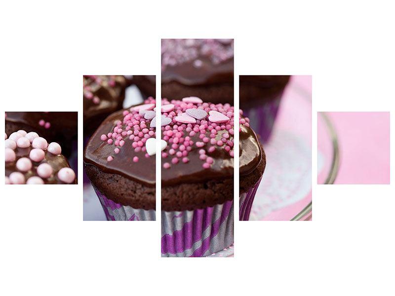 Metallic-Bild 5-teilig Muffins