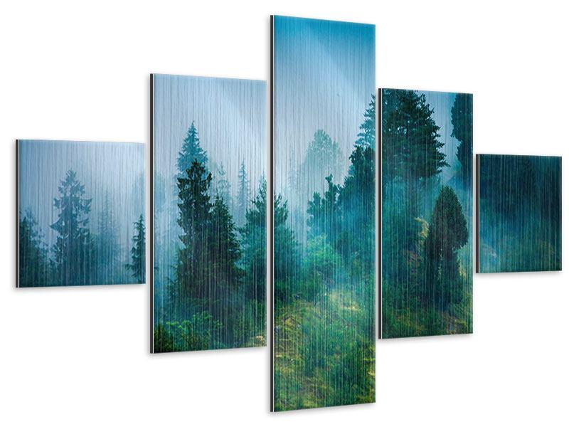 Metallic-Bild 5-teilig Geheimnisvoller Wald