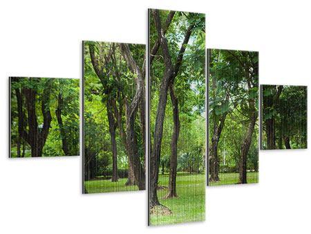Metallic-Bild 5-teilig Kirschbaum-Garten