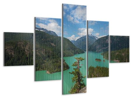Metallic-Bild 5-teilig Diablo Bergsee