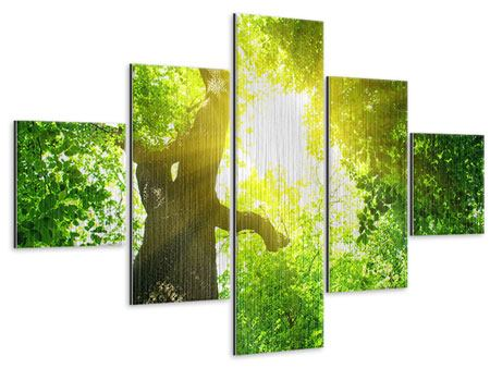 Metallic-Bild 5-teilig Baum