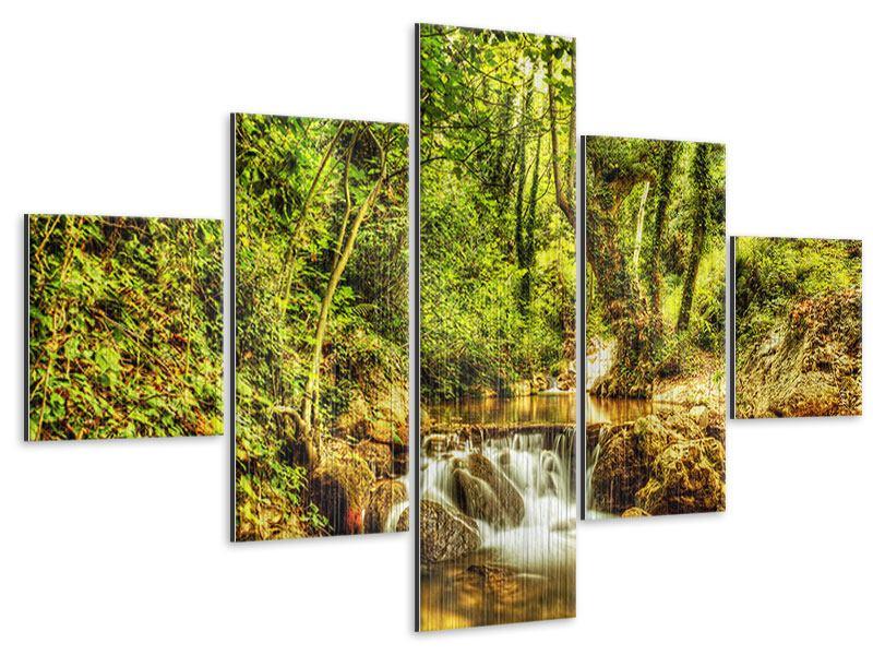 Metallic-Bild 5-teilig Wasserfall im Wald