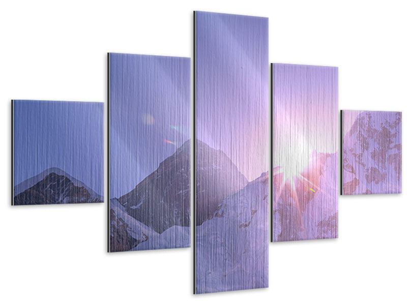 Metallic-Bild 5-teilig Sonnenaufgang beim Mount Everest