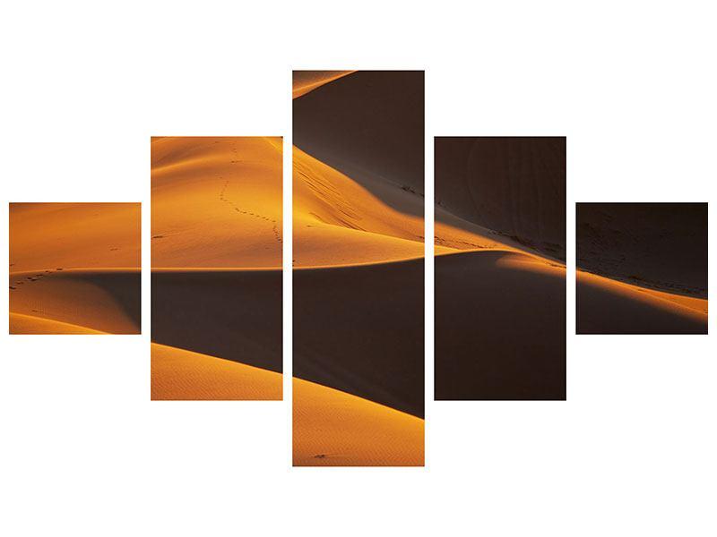 Metallic-Bild 5-teilig Wüstensand