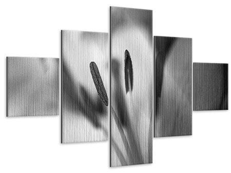 Metallic-Bild 5-teilig Makro Lilienblatt