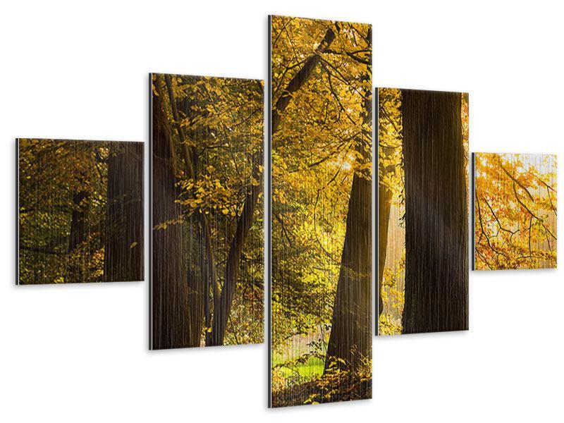 Metallic-Bild 5-teilig Herbstlaub