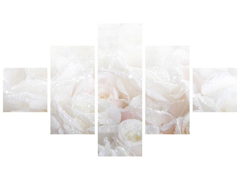 Metallic-Bild 5-teilig Weisse Rosen im Morgentau