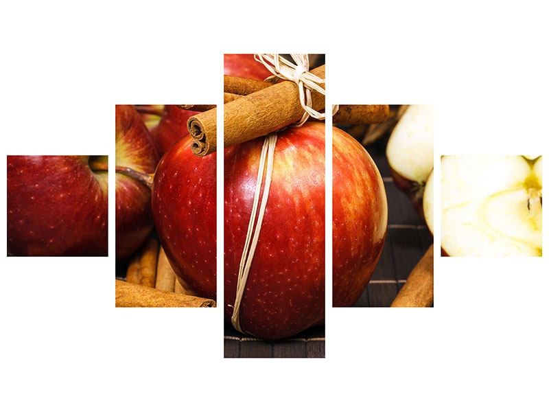 Metallic-Bild 5-teilig Äpfel