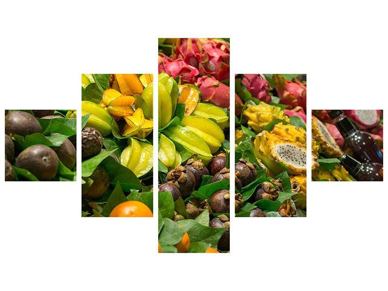 Metallic-Bild 5-teilig Früchte
