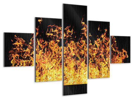 Metallic-Bild 5-teilig Moderne Feuerwand