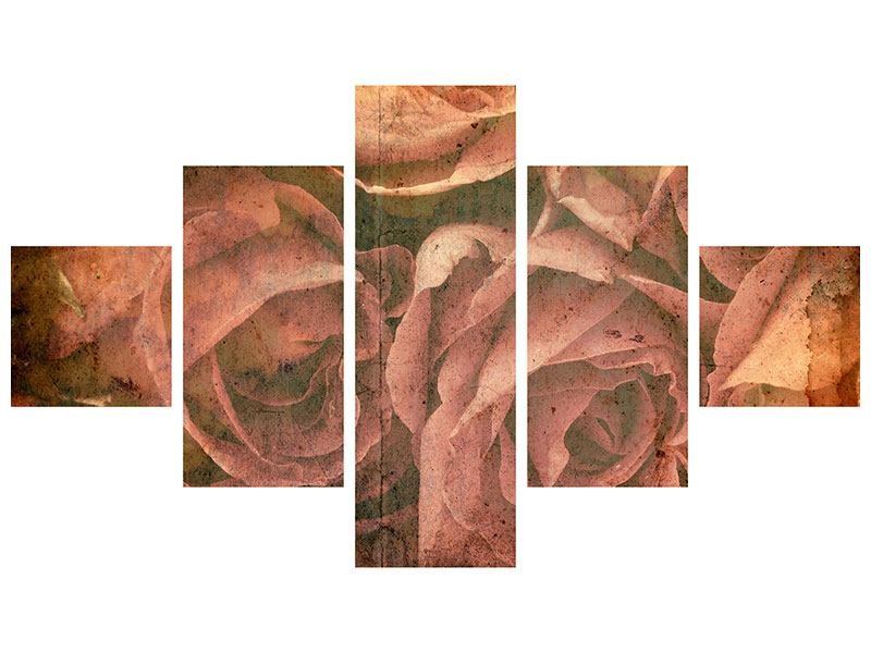 Metallic-Bild 5-teilig Rosenbukett
