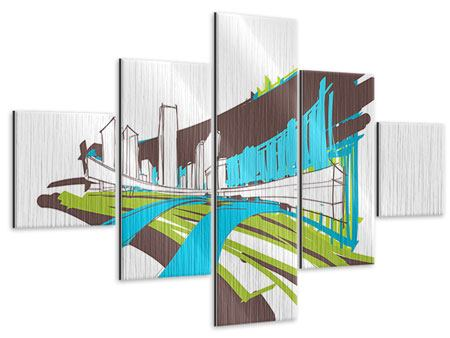 Metallic-Bild 5-teilig Graffiti Street-Art