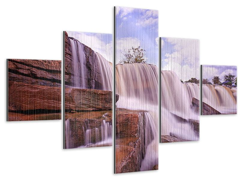 Metallic-Bild 5-teilig Himmlischer Wasserfall