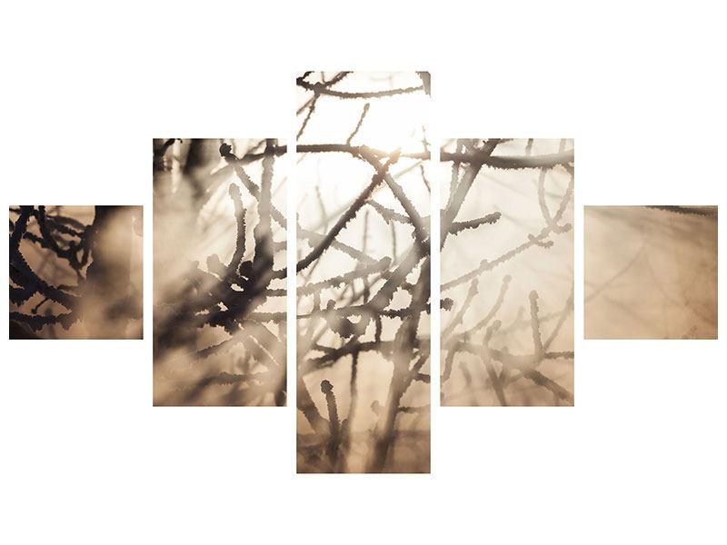 Metallic-Bild 5-teilig Äste im Schleierlicht