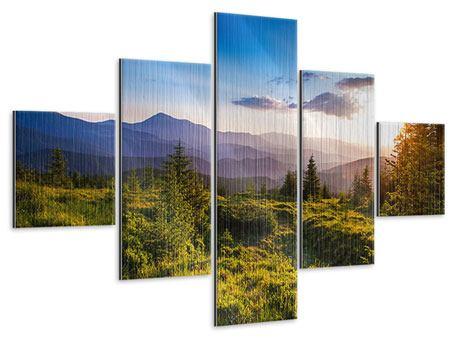 Metallic-Bild 5-teilig Friedliche Landschaft