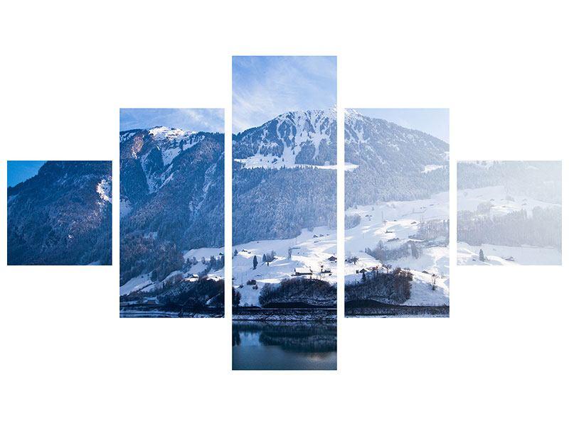 Metallic-Bild 5-teilig Winterwunderland