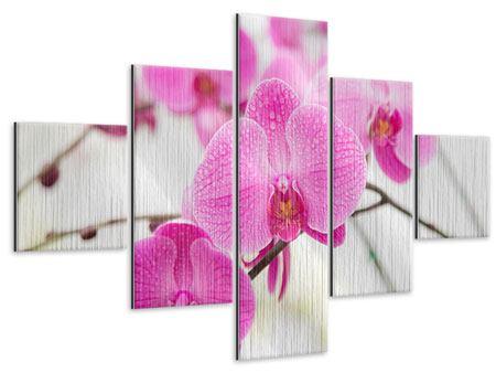 Metallic-Bild 5-teilig Das Symbol der Orchidee