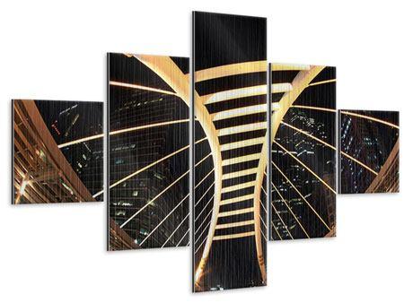 Metallic-Bild 5-teilig Avantgardistische Brücke