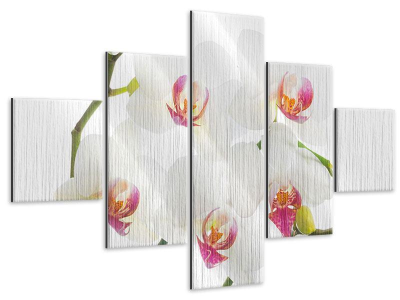 Metallic-Bild 5-teilig Orchideenliebe