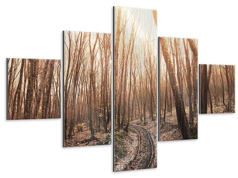 Metallic-Bild 5-teilig Der kahle Wald
