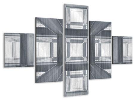Metallic-Bild 5-teilig Räume