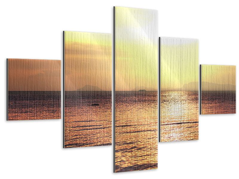 Metallic-Bild 5-teilig Sonnenuntergang an der See