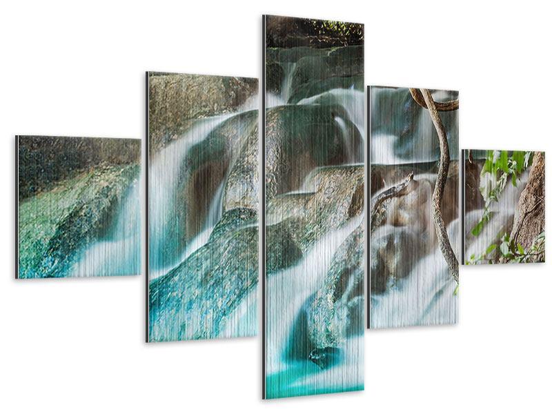 Metallic-Bild 5-teilig Am Fluss des Lebens